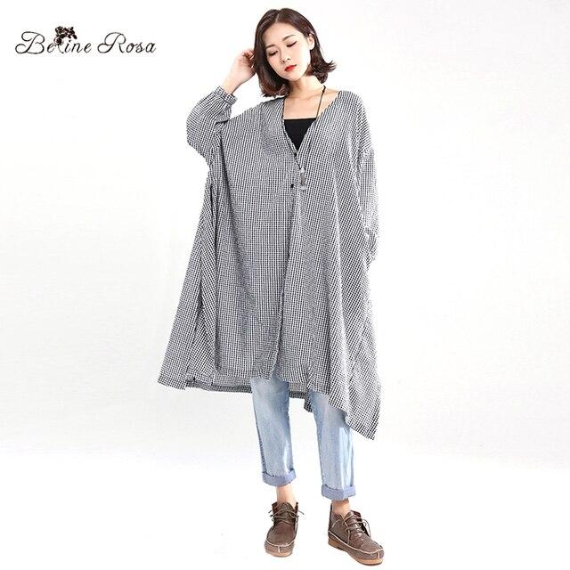 BelineRosa European Fashion Style Blouse Dresses 5XL 6XL 7XL Plus Size Women Clothing Plaid Side Slit Big Sizes Dress HS000427