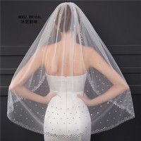 Luxury Soft Tulle Wedding Veils With Crystals Beaded Ivory/White Wedding Accessories Real Pictures Short Bridal Veil 2018