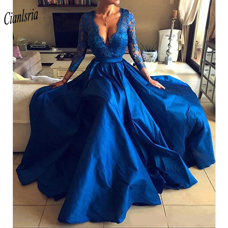 2019 Royal Blue Plus Size Prom Dresses V Neck Lace Appliques Long Sleeve Front Split Prom Party Dress