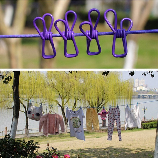 Clothesline With Stand Travel Portable Retractable Clothesline Windproof  Stretch Drying Rack 12 Clips Iron Wire PP Clothesline