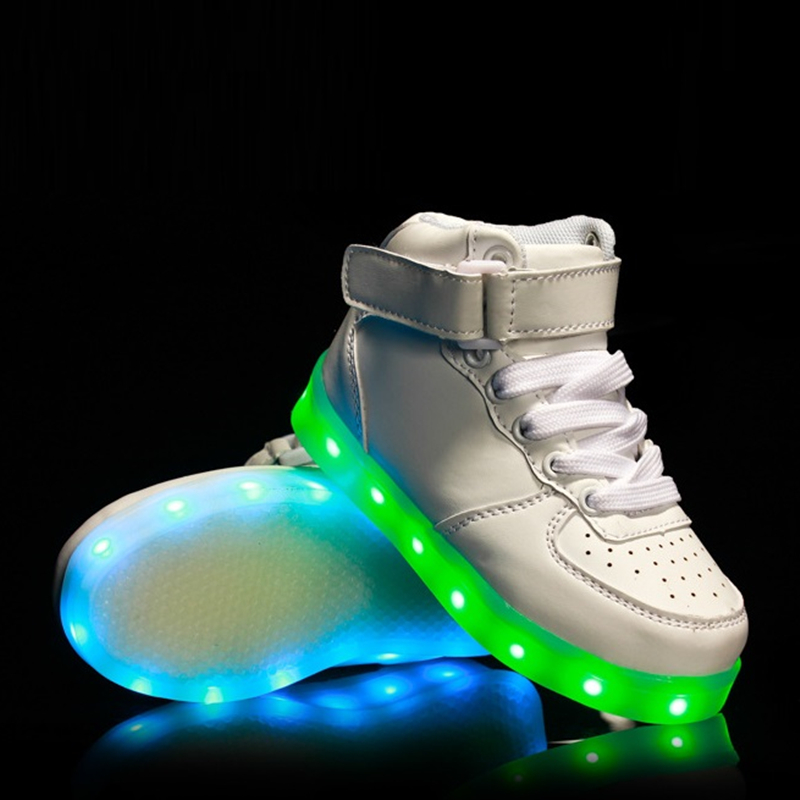 ФОТО Eur 25-36 Kids Sports Sneakers LED Shoes For Kids 2016 Charging Luminous Lighted Colorful LED Lights Children Sports Shoes AG09