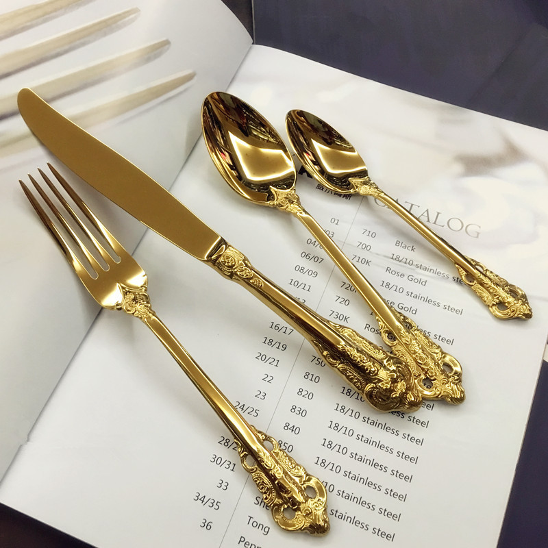 European Palace Elegant Relief Flatware Set Tableware Stainless Steel Carving Decorative Pattern Dinnerware Set Knife 24pcs 1set