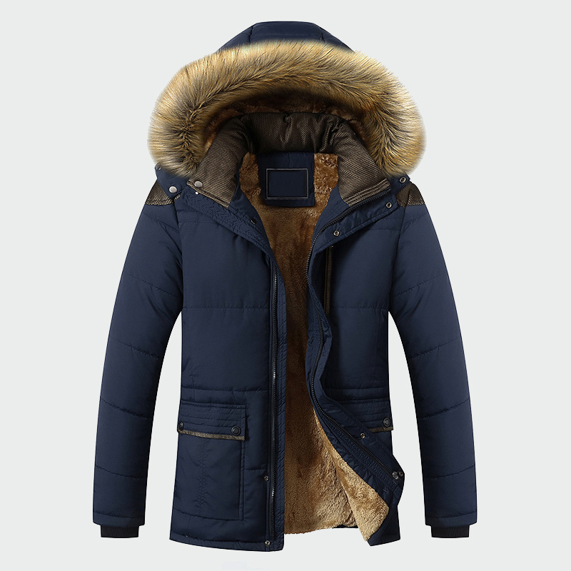 Winter Jacket Men Brand Clothing Fashion Casual Slim Thick Warm Mens Coats Parkas With Hooded Long Overcoats Male Clothes ML026(China)