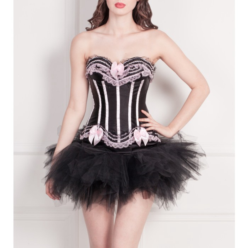 Black and Pink Burlesque Corset Ladies Lace Up Bustier TUTU Skirt Dress 8068+7008