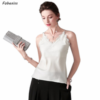 100% Natural Silk Tops Sexy Lace Elegant Real Silk Camisole Summer Top Women V Neck Vest Sleeveless Satin Cami Silk Tank Top