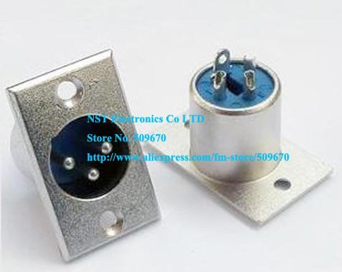 Free Shipping /5pcs/ XLR 3-Pin Male Chassis Panel Socket Speaker Audio Connector  New