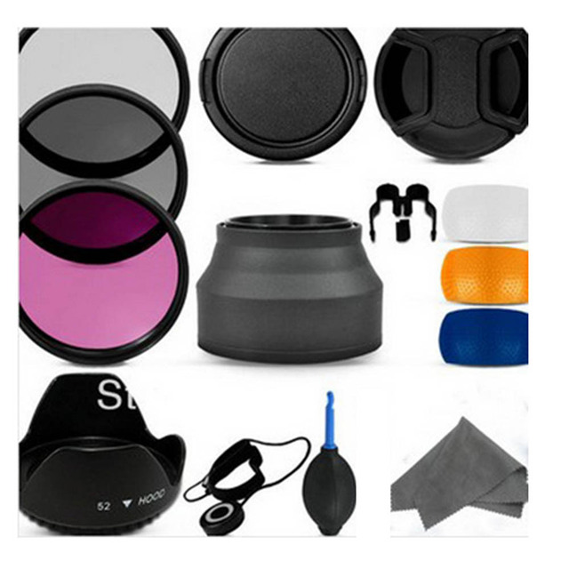 100% Professional 52MM Filter CPL+UV+FLD Set + Lens Hood + Cap + Cleaning Kit for Nikon D3200 D3100 D5100
