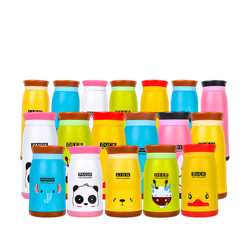 Cute Animal Baby Thermos Cup Vacuum Stainless Steel Children Feeding Drink Water Bottle Cartoon Animals Learning Cups MBG0386