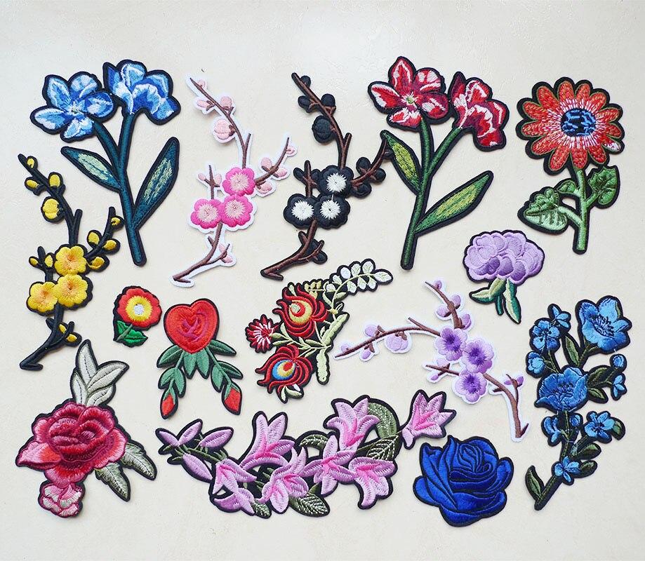 4 piezas de flores apliques de hierro bordado de color rosa en parches para ropa rayas ropa apliques de bricolaje bordado