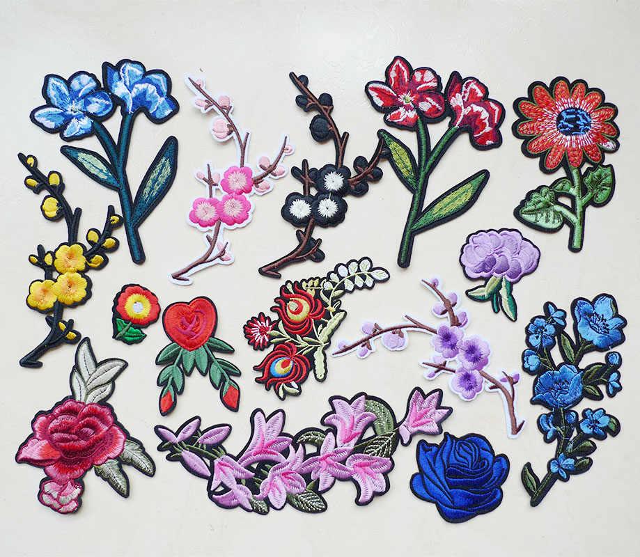 1 шт. роза цветы вышитые железные заплатка для одежды полосы джинсы Лоскутные этикетки Аппликация Швейные значки аксессуары