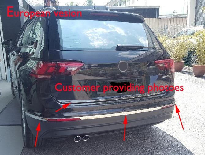 For 2016 2017 VW Tiguan Mk2 Car Styling Bottom Rear Bumper Trim Cover