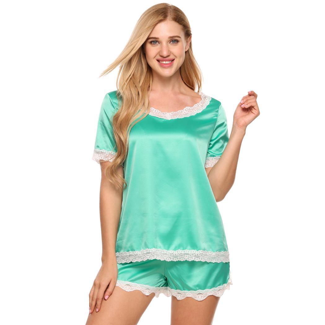 Ekouaer Shorts Satin   Pajamas     Set   V-Neck Short Sleeve Lace-Trim Top and Women Sleepwear