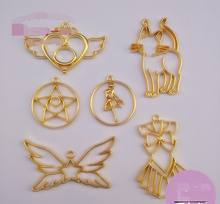 New 10 pcs/lot Love heart stars wings skirt cat Metal Frame Pendant Gold Charm Bezel Setting Cabochon Setting UV Resin Charm(China)