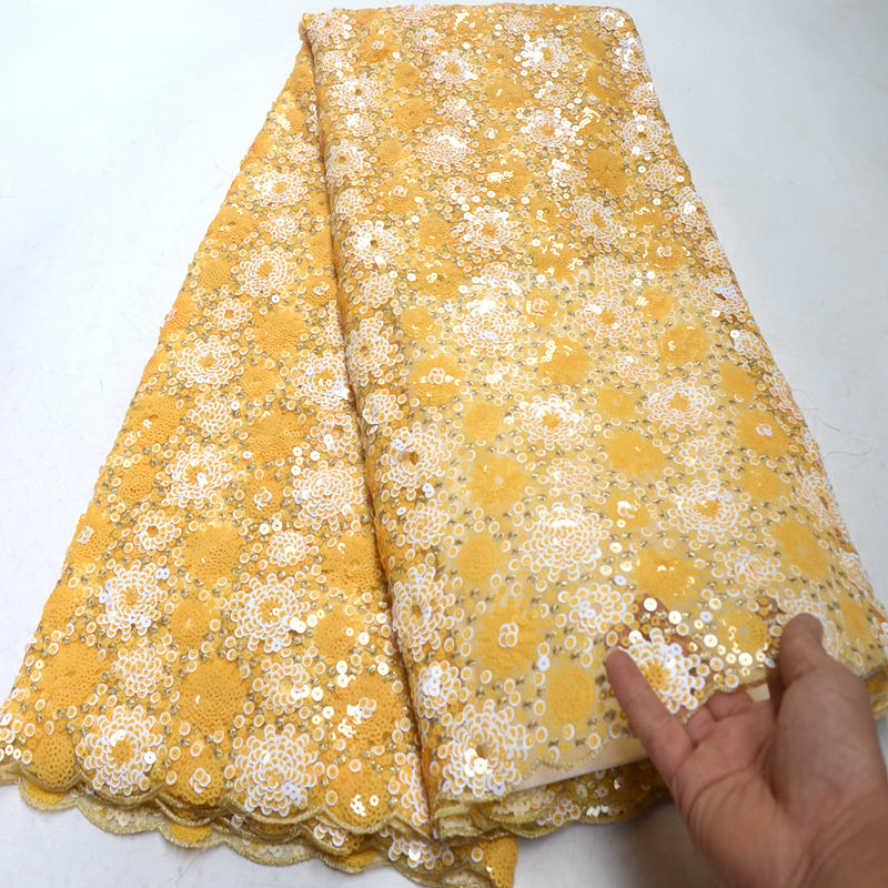 5 yards yellow wedding french lace very neat allover sequins embroidery African tulle lace fabric Nigerian