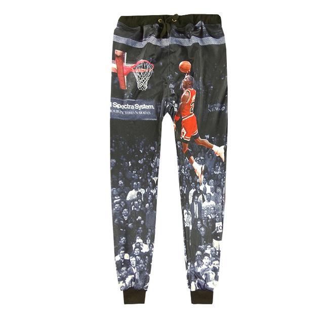 Estilo de Rua Hip Hop Homens Calças Basculador 3D Micheal Jordan 23 Última Dunk Gráfico Fresco Sweatpants Casual Solto Corpo Inteiro calças