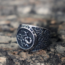 Viking Runes Mjolnir Dragon Rings Mens Thor Hammer Stainless Steel Ring Nordic Amulet Jewelry