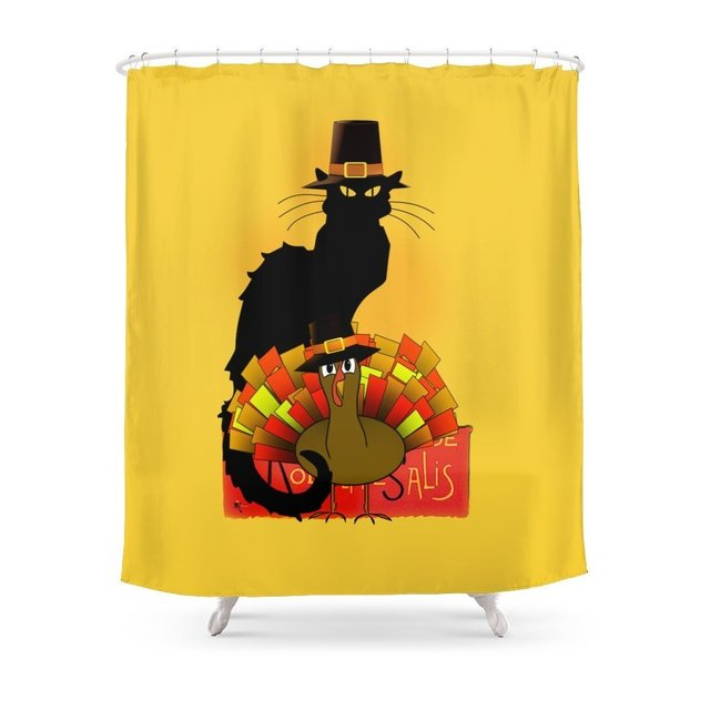 Thanksgiving Le Chat Noir With Turkey Pilgrim Shower Curtain Set Waterproof Polyester Fabric For Bathroom Floor Mat