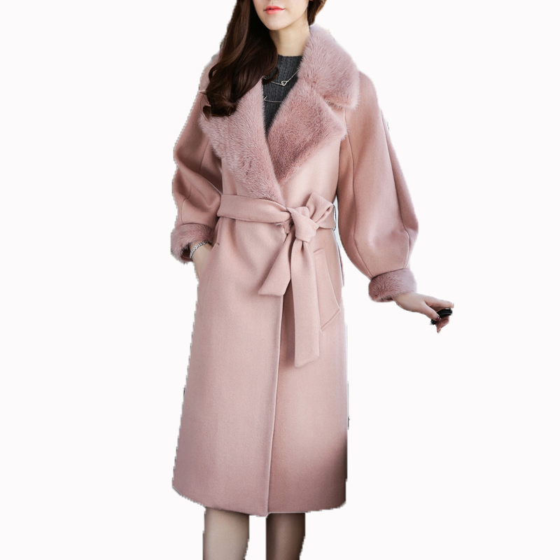 100% Wool Jacket Mink Fur Collar Winter Jacket Women Clothes 2018 Korean Cashmere Double Side Woolen Coat Casaco Feminino ZT764