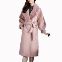 100% шерсть куртка норки меховой воротник зимняя куртка женская одежда 2018 корейский Кашемир Двусторонняя шерстяное пальто Casaco Feminino ZT764