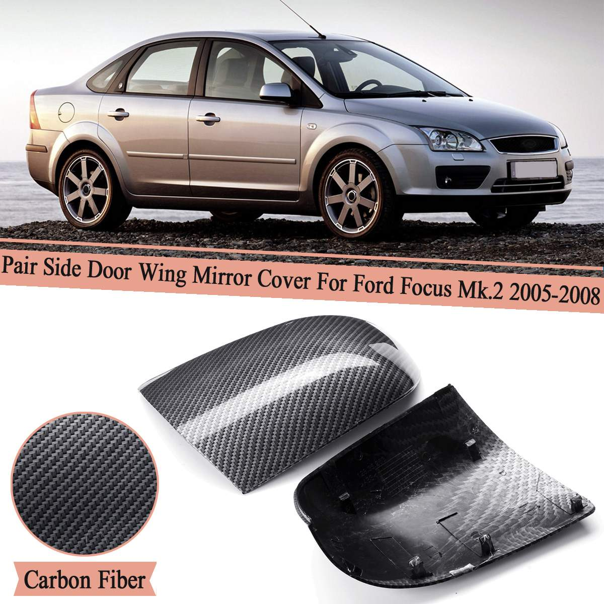 Left Right <font><b>Side</b></font> Car Rear View <font><b>Mirror</b></font> Wing Cover Case Trim Carbon Fiber For <font><b>Ford</b></font> for <font><b>Focus</b></font> Mk.2 2005-2008/for <font><b>Ford</b></font> <font><b>Focus</b></font> 2004-17 image