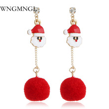 WNGMNGL Christmas Long Statement Drop Earrings For Women Bohemia Fashion Female Santa Claus Cotton Round Dangle Earrings Jewelry santa claus enamel christmas dangle earrings