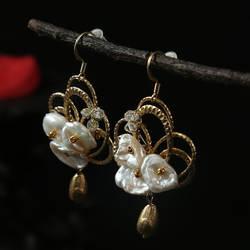 Amxiu ручной работы с натуральным жемчугом Серьги 925 пробы серебряные бабочки серьги для женщин обувь девочек gвечерние Fashion вечерние