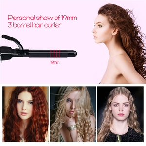 Image 3 - Varita de rizador de pelo de 3 barriles, 19 25mm, rizador de pelo de cerámica de calentamiento rápido Digital LCD, ondulador profundo, permanente, Styler36