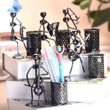 Hot Sales Music Iron Man With Pen Holder Handicrafts Pen Box Pencil Case Gift Study Room Layout Music Iron Man Home Decoration