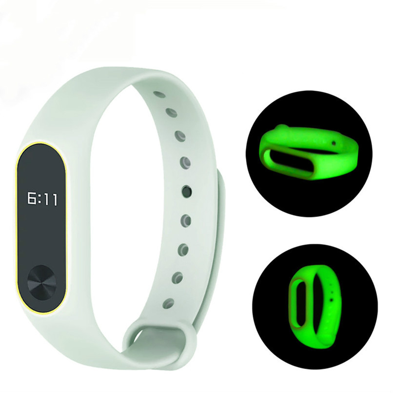 ZUCZUG For mi band 2 strap Luminous Silicon Soft Wrist Strap WristBand Replacement For XIAOMI MI Band 2