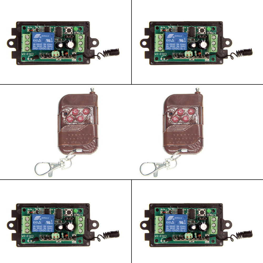 DC 9V 12V 24V 1 CH 1CH RF Wireless Remote Control Switch System,315/433.92, 2X 4CH Transmitter + 4 X Receivers,Momentary/Toggle 2 receivers 60 buzzers wireless restaurant buzzer caller table call calling button waiter pager system