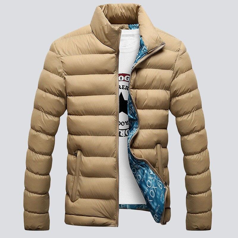 US $16.99 49% OFF|VISADA JAUNA Winter Jassen Heren 2017 Nieuwe Stijlvolle Slim Fit Veste Homme Lange Mouw Katoen Gevoerde Effen Dikke Parka XXXXL N439