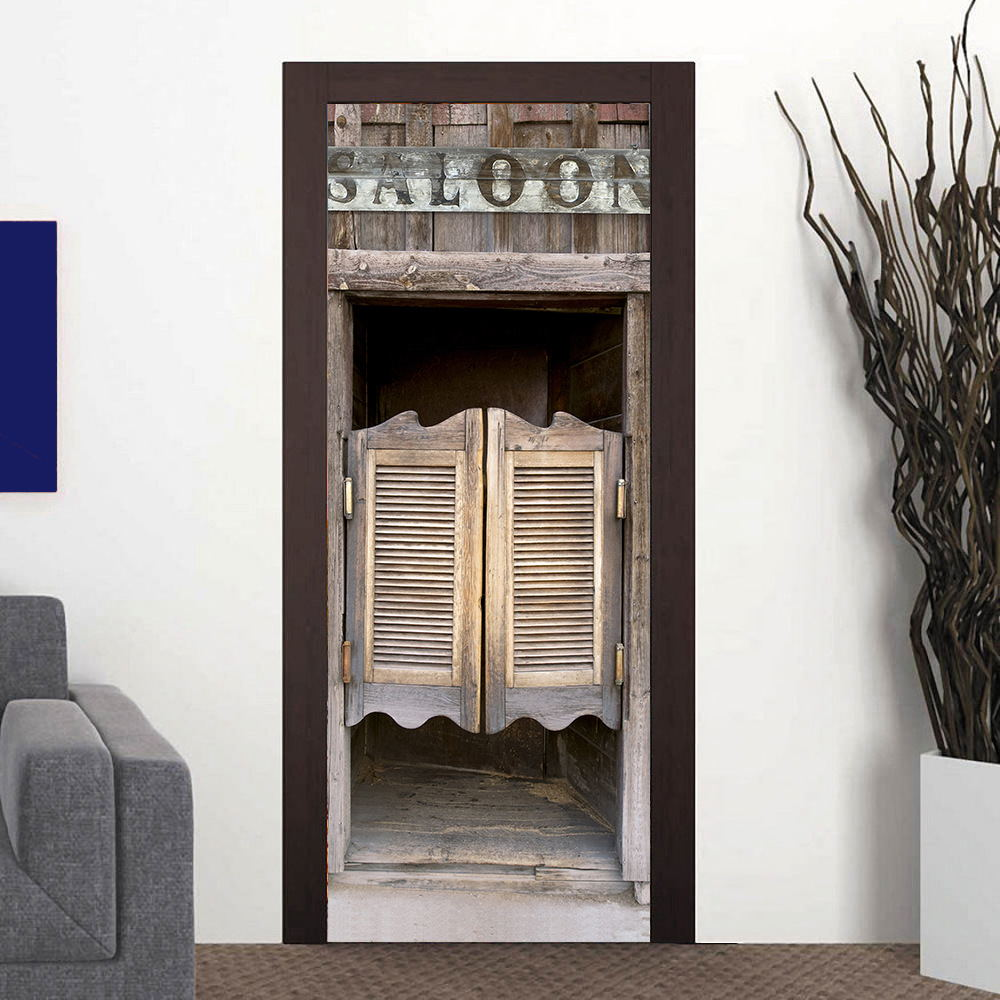 2pcs/set 3D Door Stickers Art Murals Decal Wardrobe Barn Bookshelf Door Wall Adhesive Home Bedroom Living Room Decor 38.5X200cm