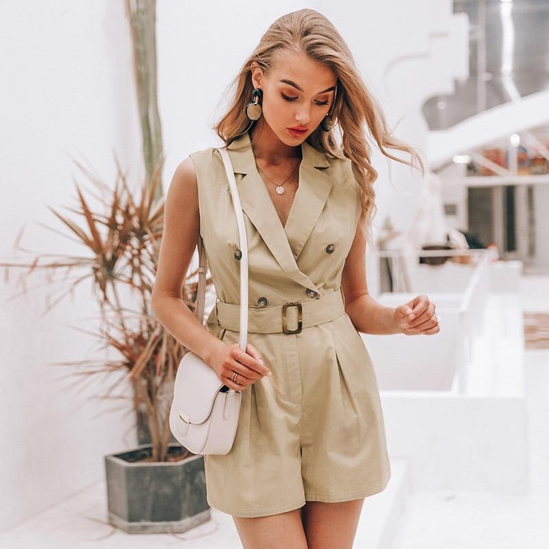 Elegant sashes khaki cotton women playsuit Summer pockets button zipper rompers short jumpsuit Office ladies overalls sexy top