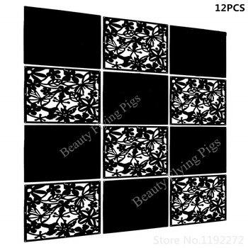 Divisor de habitación colgante WSHYUFEI, pantalla de Panel de PVC negro sólido y cortado de 12 Uds para decorar la sala, la cena (negro + tablero sólido)