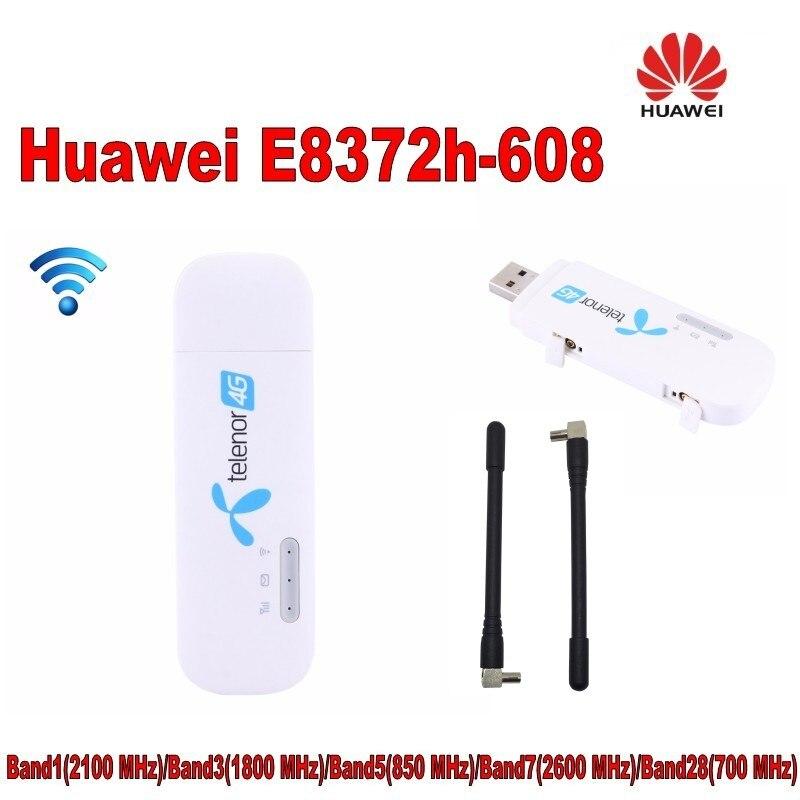 Lot de 100 pièces Débloqué Huawei E8372h-608 HiLink 4G LTE FDD Dongle WiFi Modem avec 2 pièces 4g antenne
