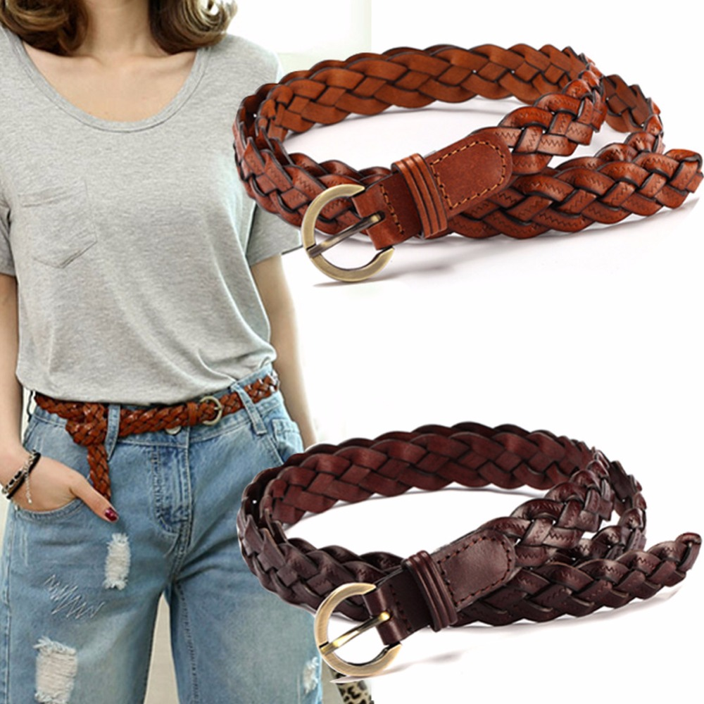 Woven Leather Fashion Women Belt Rose Metal Woven Belts For Casual Dress Bohemian Holiday Dress Waistband Gift For Girl