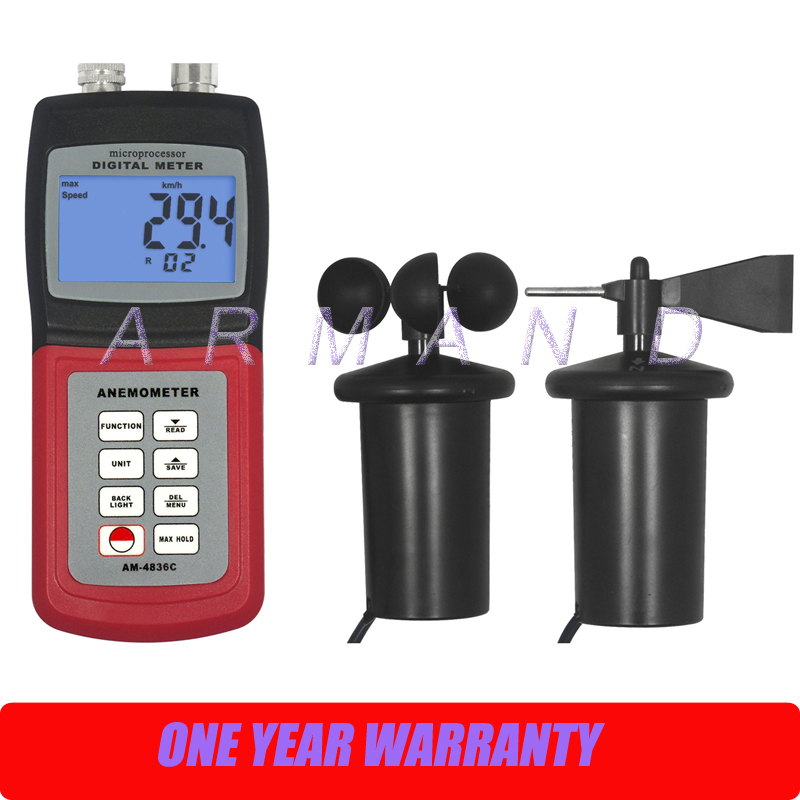 Multifunctional Digital Anemometer AM-4836C Air Velocity Flow wind speed direction scale temperature Tester 3-cup Probe digital 3 cup type sensor probe multi function thermo anemometer 80% rh air weather meter wind direction air speed temperature
