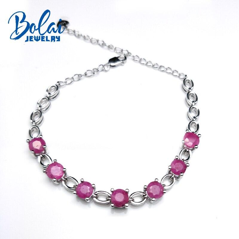 Bolaibijoux, naturel inde rubis rond coupe 5mm 4ct pierre gemme simple bracelet 925 argent sterling bijoux fins pour les femmes