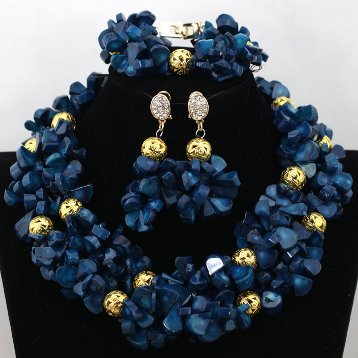 Romantic Blue Coral African Women Beads Jewelry Set Party
