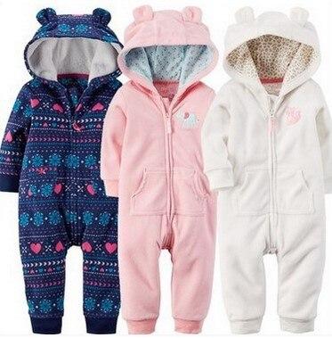 Kış kız bebek giysileri yeni doğan Bebek Rompers Polar beyaz pembe Baby boy Giyim 6 M-24 M bebek set bebek Tulumlar bebes
