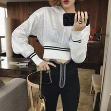 Women Polyester Casua Sweatshirt 2018 new spring women pure color set head sequins and short long sleeved thin sleeves