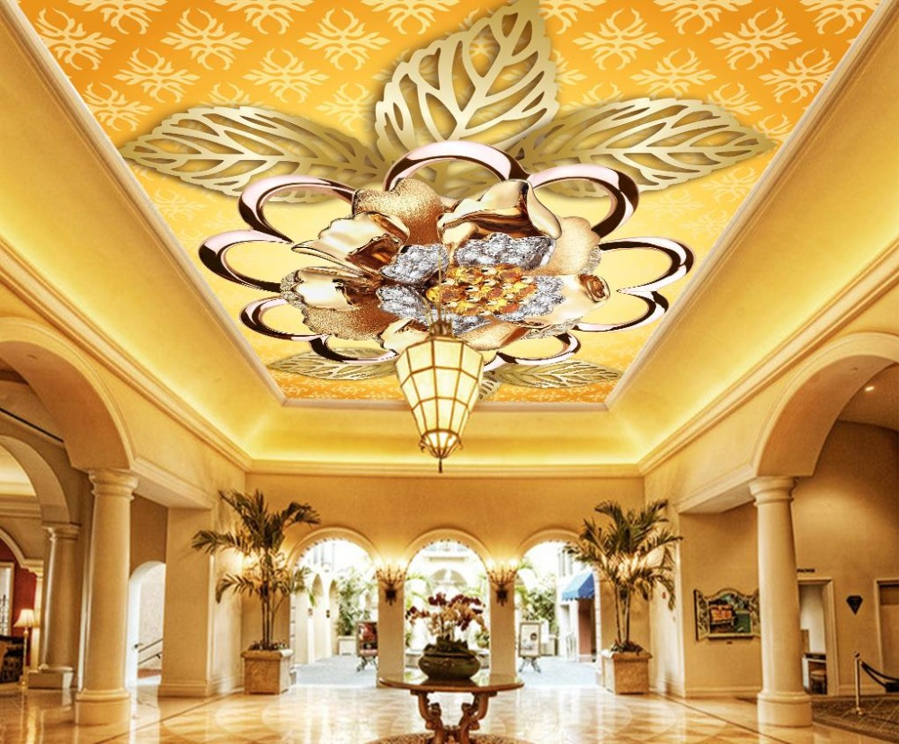 Luxurious Ceiling Wallpapers House Interior Decoration Living Room photo Wall Mural 3D Ceiling Jewelry diamonds ceiling non woven wallpapr home decoration wallpapers for living room 3d mural wallpaper ceiling customize size