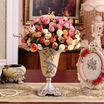 Continental retro decor decoration handicraft flower vase Home Furnishing table flower simulation package decoration