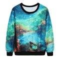 Harajuku mulheres 3d suéter Primavera Outono mangas longas galaxy impressão digital pulôveres para mulheres roupas moleton feminino