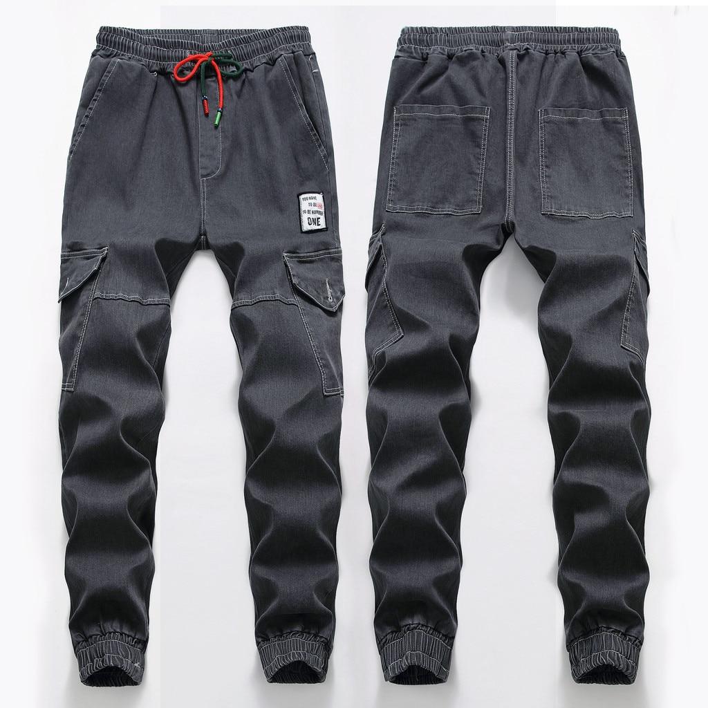 Skinny-Jeans Pantalon Distressed Jogger Mens Casual Fashion Denim Homme Elastic