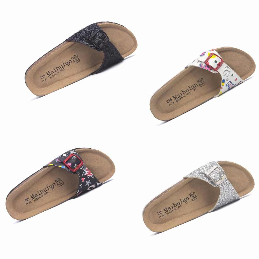 da077caeae9 flower printing cork sandals women brand buckle flip flops mixed color  glitter slippers woman beach sandals