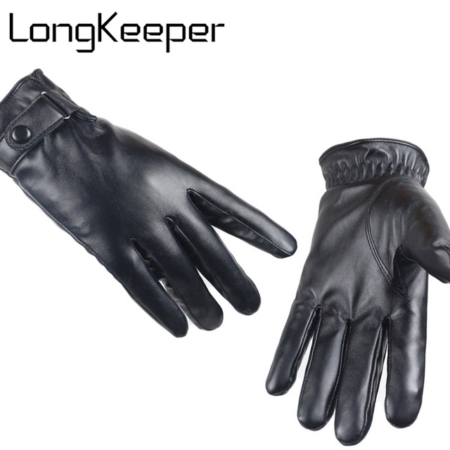 a6d4e400a2b98e LongKeeper Mode 2017 Luxe Mannen Hertenleer Handschoenen Knop Pols Stevige Lederen  Mannelijke Winter Rijden Handschoen Gratis