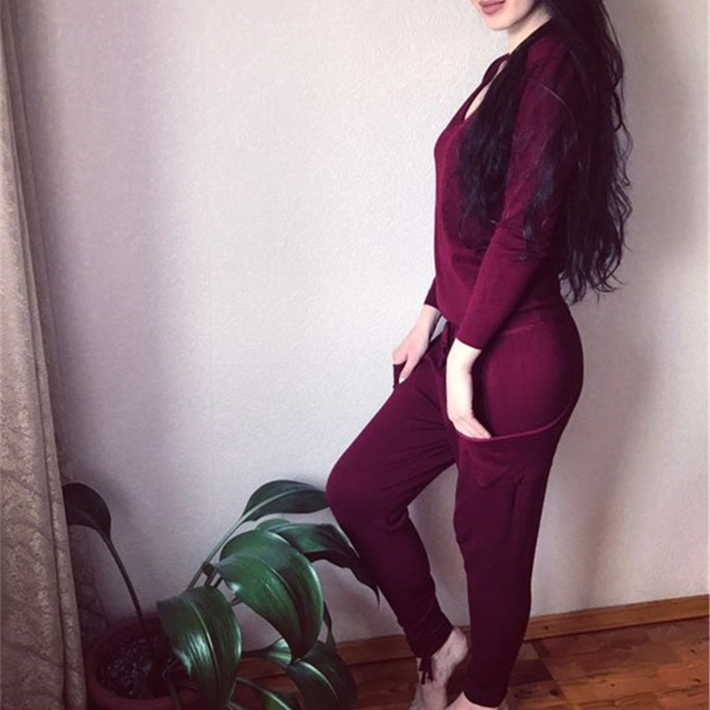 17 Hot 2 Pieces Set Women V-Neck Sexy Knitted two pieces sets Spring Suits Tracksuit Sweater top+ Pants Set Womens Casual Suit 16