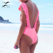 Pink ruffle bikini 2018 sexy brazilian swimsuit female Push up one-piece suits solid swimwear women bathing suit summer monokini(China)