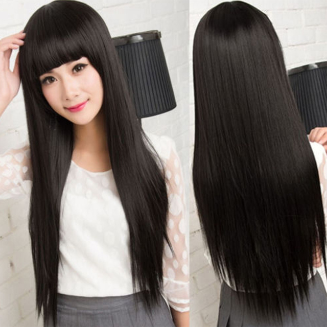 58cm Ladies Dark Black Long Straight Full Wigs with Neat Bangs Synthetic Heat Resistant Daily Dress Party Wig